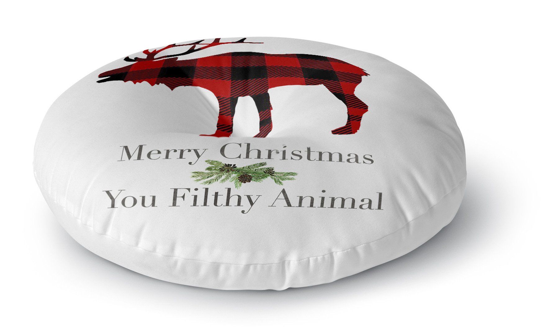 KAVKA DESIGNS Filthy Animal Floor Pillow, (Red/Black/Green/White) - TRADITIONS Collection, Size: 23x23x8 - (TELAVC1395FPR23)