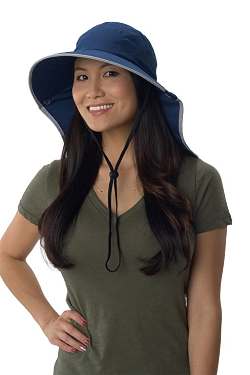 51e83464 Sun Protection Zone Unisex Lightweight Adjustable Outdoor Floppy Sun Hat (100  SPF, UPF 50+) - Navy with Silver Trim: Amazon.ca: Clothing & Accessories