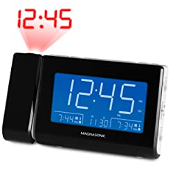 "Magnasonic Alarm Clock Radio with USB Charging for Smartphones & Tablets, Time Projection, Auto Dimming, Dual Gradual Wake Alarm, Battery Backup, Auto Time Set, Large 4.8"" LED Display, AM/FM (CR64W)"