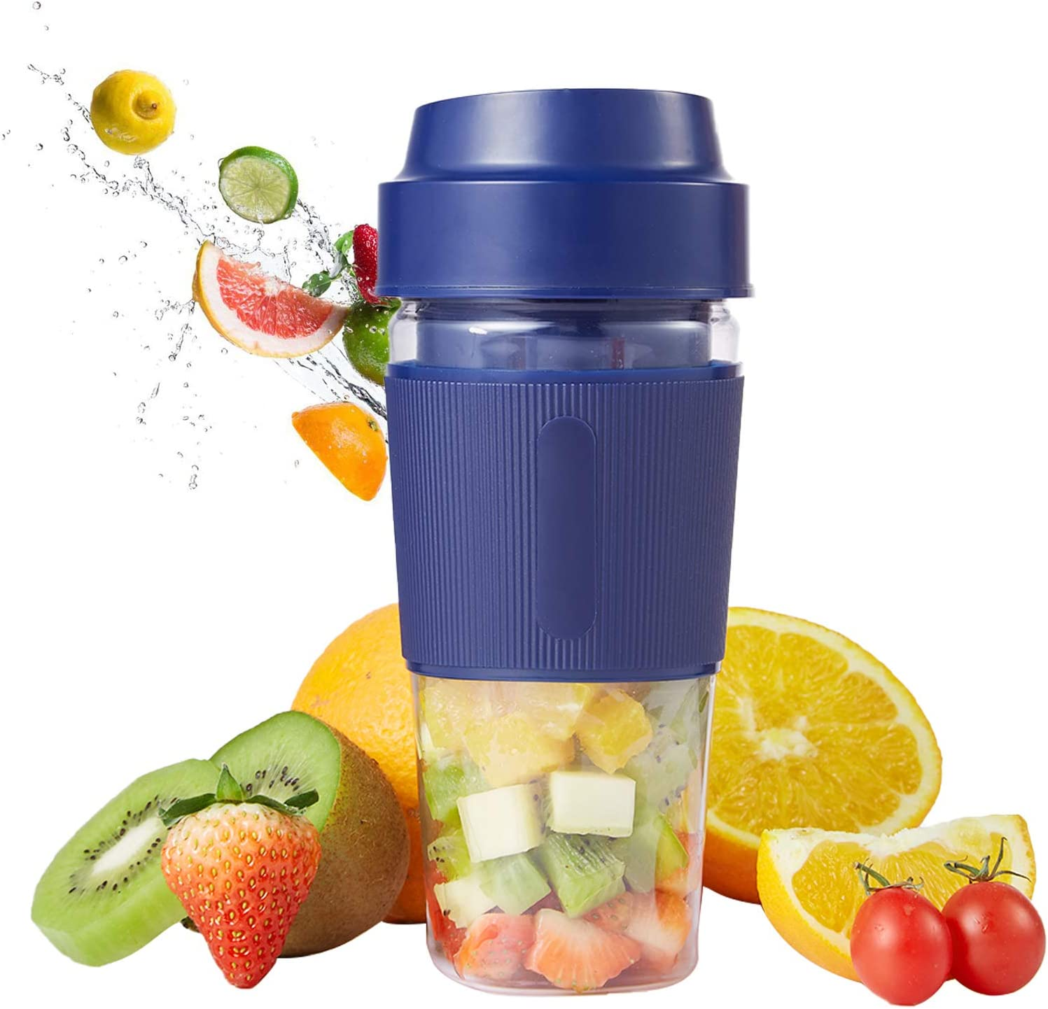 Portable Blender,Mini Personal Mixer Fruit Rechargeable with USB,Personal Size Blender for Smoothie, Fruit JuiceJuice Cup with Four Blades for Superb Mixing (Blue)
