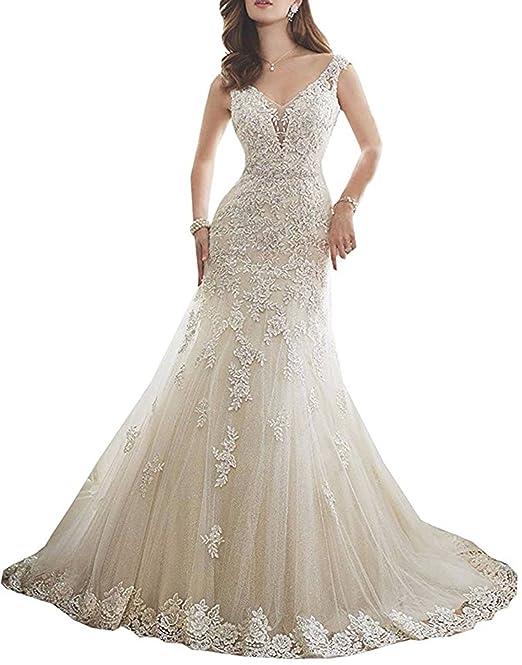 ANJURUISI Vestido de novia de encaje de cuello en V abierto de encaje vestido de novia de sirena: Amazon.es: Ropa y accesorios