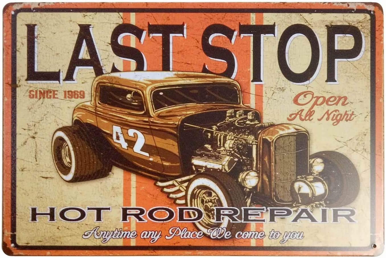 TOPYUN Last Stop Hot Rod Repair Car Signs Metal Vintage Gifts for Men Retro Metal Tin Sign Art Wall Decor 12 X 8 Inches