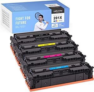 myCartridge SUPRINT Compatible Toner Cartridge Replacement for HP 201X 201A CF400X use with Color Laserjet Pro MFP M277dw M252dw M277 M277n M252n M277c6 M274n (Black Cyan Magenta Yellow, 4-Pack)