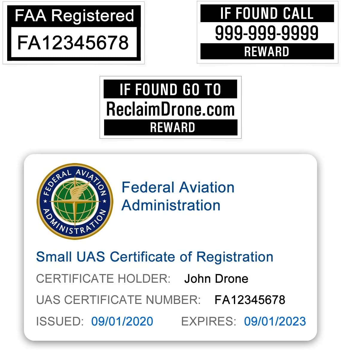 Removable 1.875 x 0.875 FAA Drone Registration LabelsStickersDecals in BLUE Color Set of 3 Tear-Proof Water-Resistant