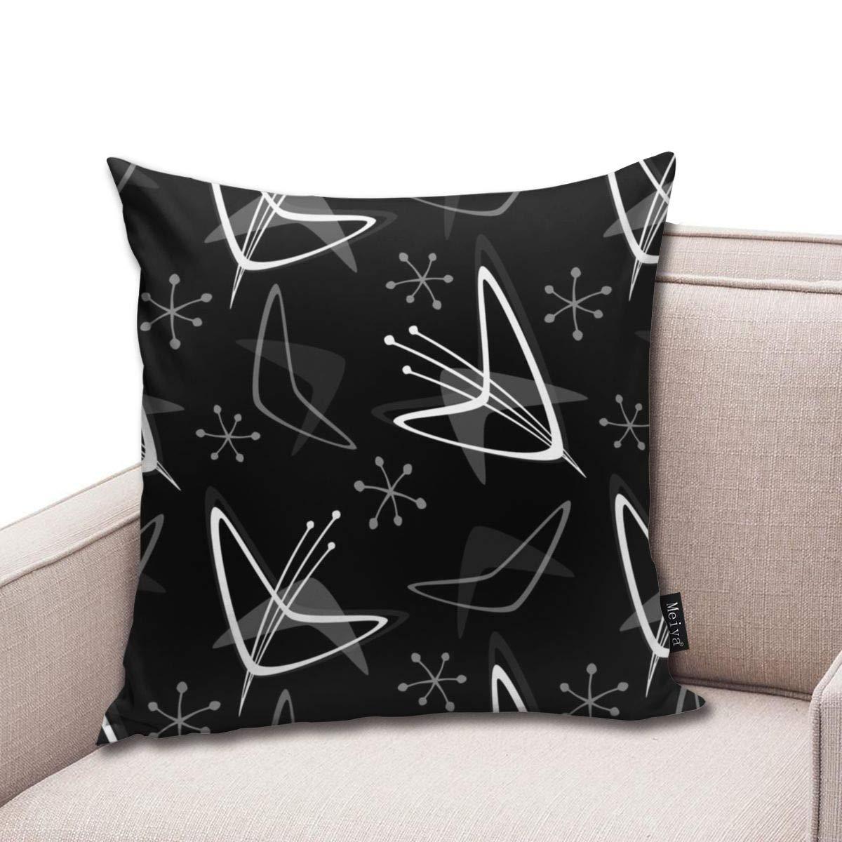 Zara-Decor Atomic Boomerangs On Black Home - Funda de cojín ...