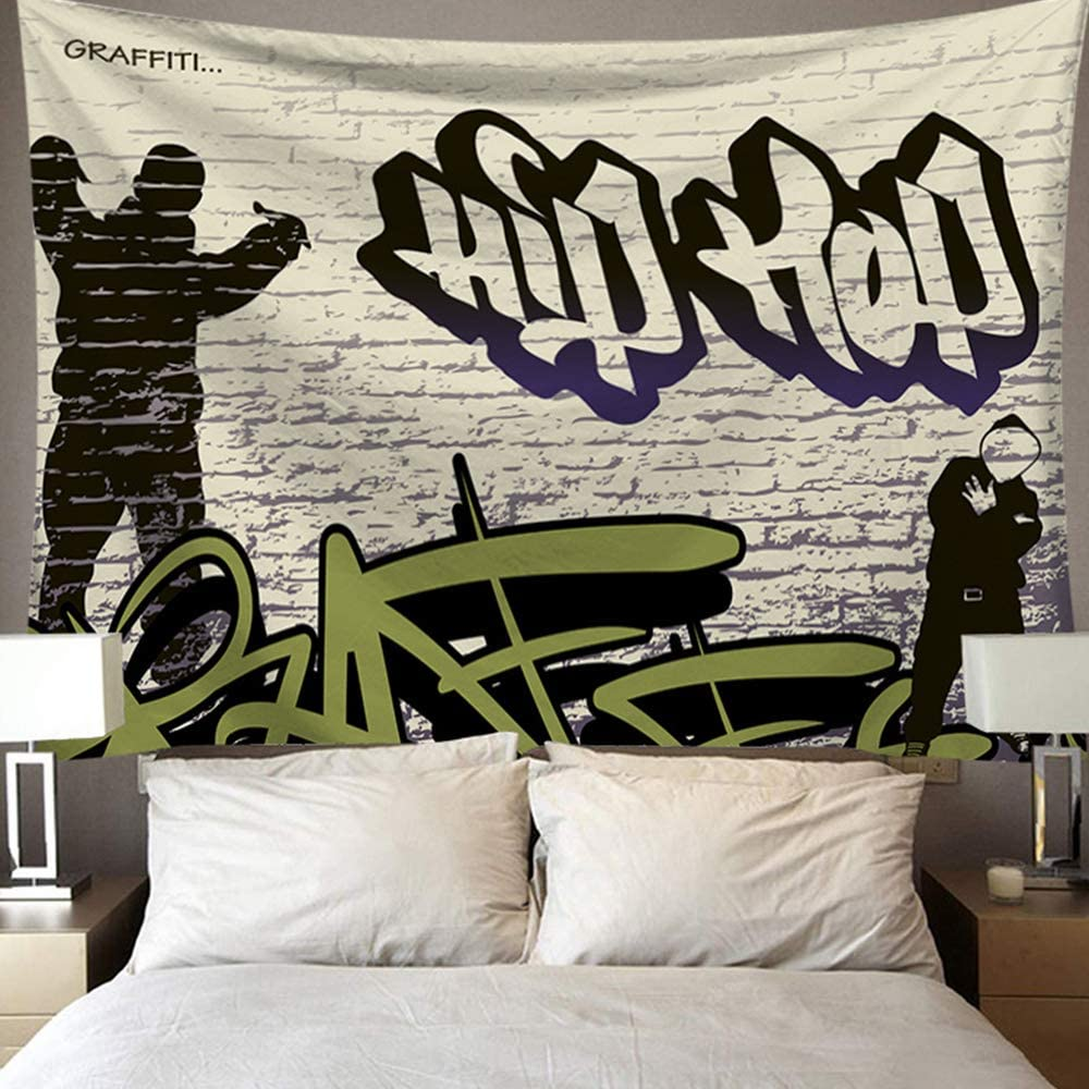 PuzCub Black White Hip Hop Music Guy Tapestry Graffiti Style Wall Hanging Décor Tapestry for Bedroom Living Room Dorm