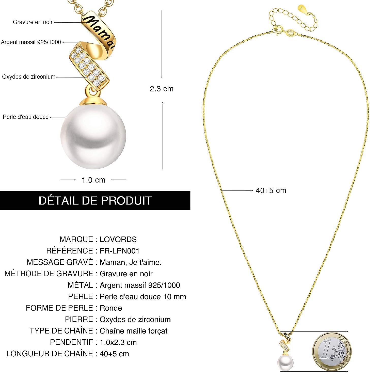 LOVORDS Collier M/ère Femme Grav/é en Argent 925//1000 Pendentif Perle de Culture Blanche 10mm Cadeau pour Maman