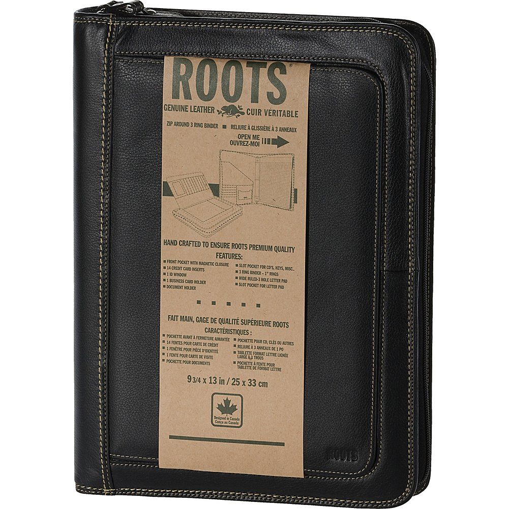Roots 73 Leather Portfolio with Zip Around and Magnetic Closure (Black)