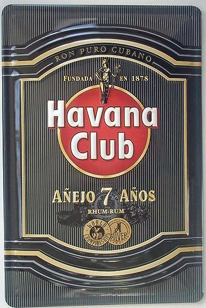 Havana Club Ron grabada metal sign (Black)