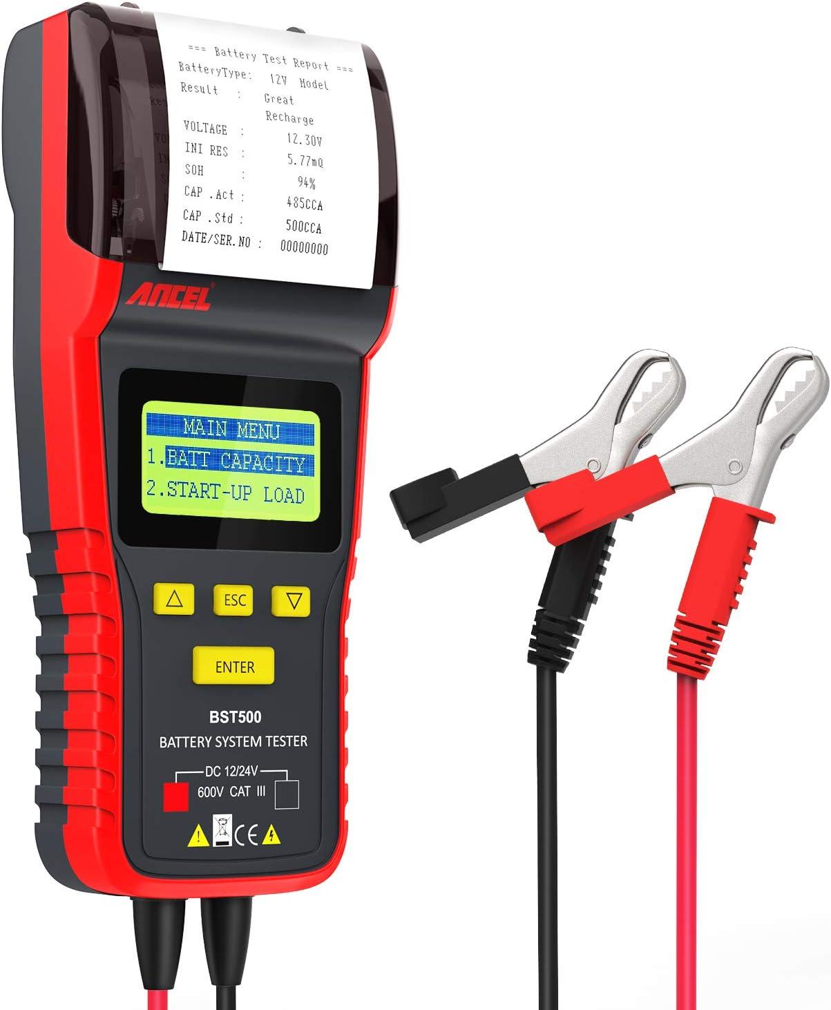 ANCEL BST500 Comprobador de baterías Digital, Profesional, 12V/24V, impresión de Datos, Prueba de Celdas, Herramienta para Coche, camión, Moto y más …