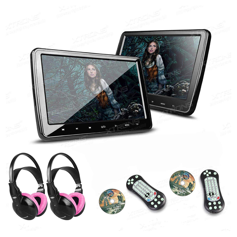 XTRONS 2×10.1 Inch HD Digital Screen Car Headrest DVD Player Ultra-Thin Detachable Touch Button with HDMI Port 2 Children IR Wireless Headphones