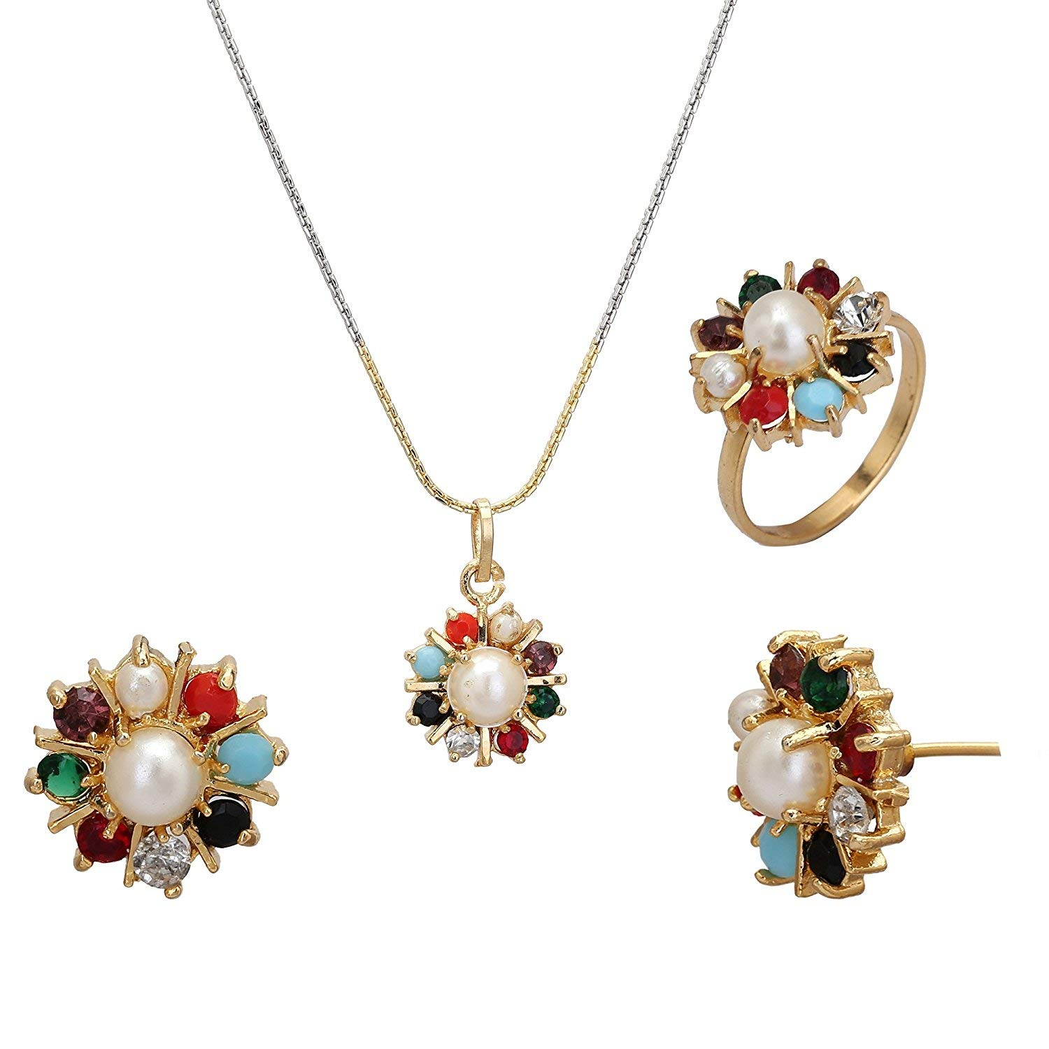 Buy Jsd Gold Plated Beautiful Flower Design Pendant Set With