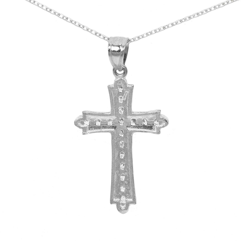 Ice on Fire Jewelry 14k White Gold Cubic Zirconia Cross Pendant