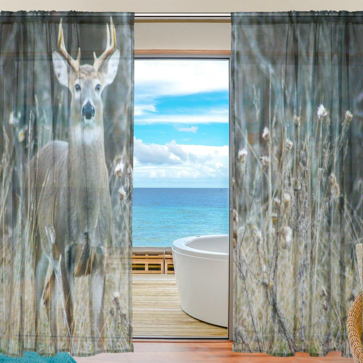 SEULIFE Window Sheer Curtain, Wild Animal Deer Antler Voile Curtain Drapes for Door Kitchen Living Room Bedroom 55x78 inches 2 Panels