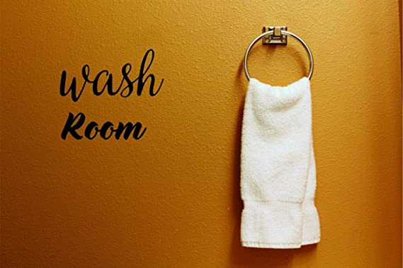 Wash Room Text Lettering Bathroom Quote Color Black Size 20 Inches x 20 Inches Design with Vinyl Moti 2037 4 Decal Peel /& Stick Wall Sticker