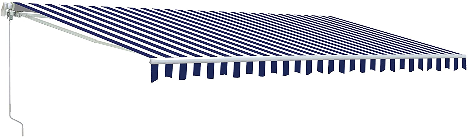 ALEKO AW6.5X5BLWHT03 Retractable Patio Awning Sun Shade 6.5 x 5 Feet Blue and White Striped