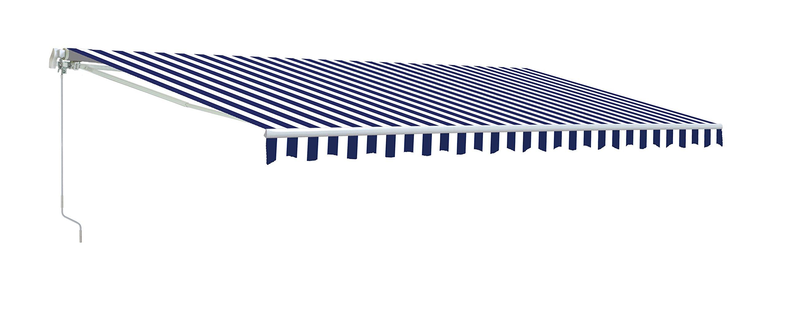 Aleko AW13X10BWSTR03  13X10-Feet Retractable Awning, Blue/White Strap
