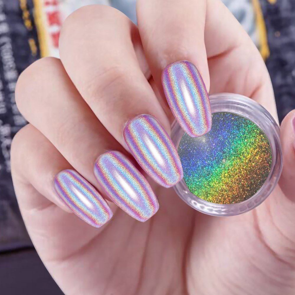 PrettyDiva 1g Holographic Powder Rainbow Unicorn Chrome Nails Powder Manicure Pigment Top Grade by Pretty Diva (Image #6)