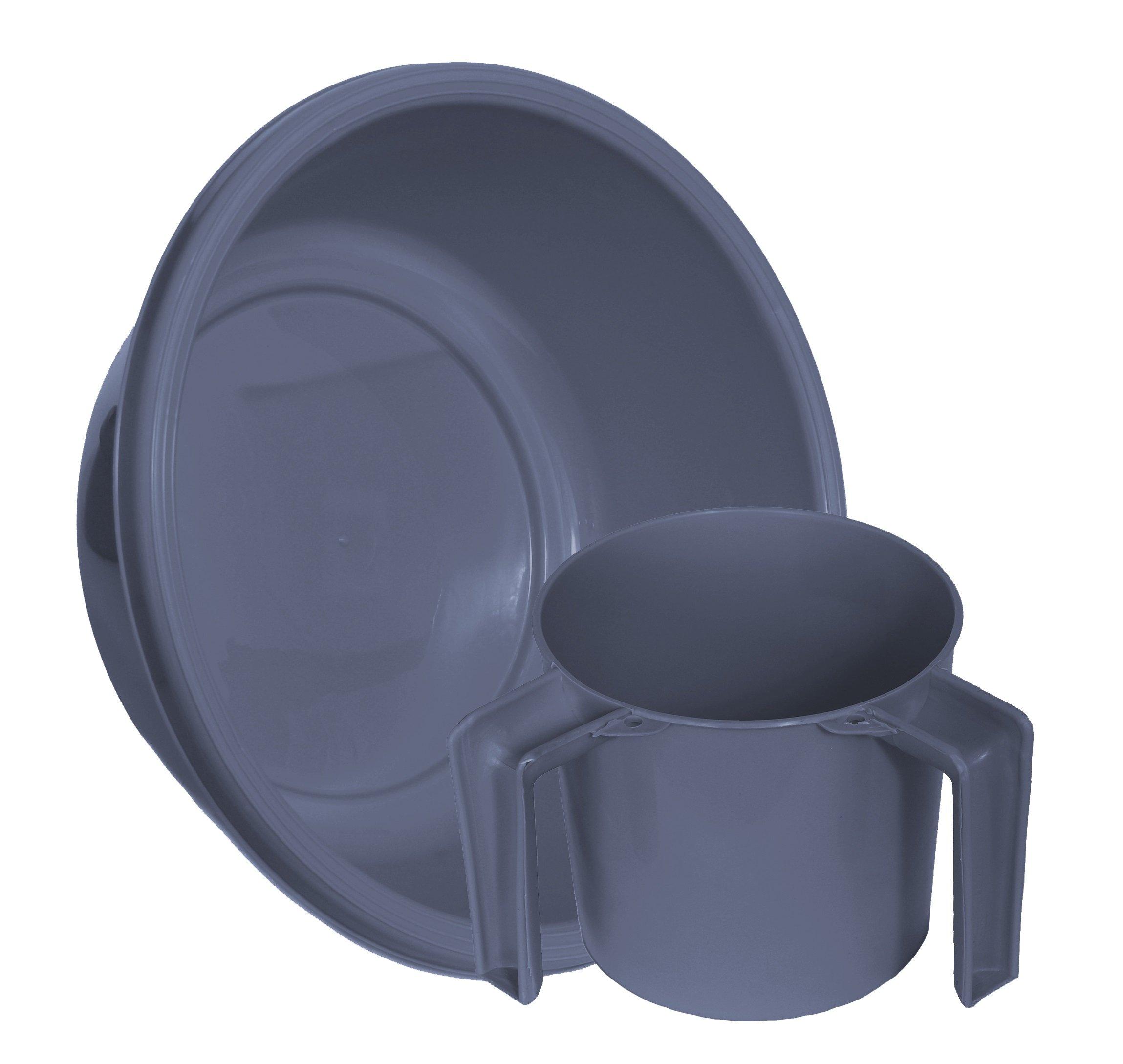 YBM Home Round Wash Cup & Round Wash Basin Netilat Yadayim, Negel Vasser Set Ba157-1147set (1, Gray)