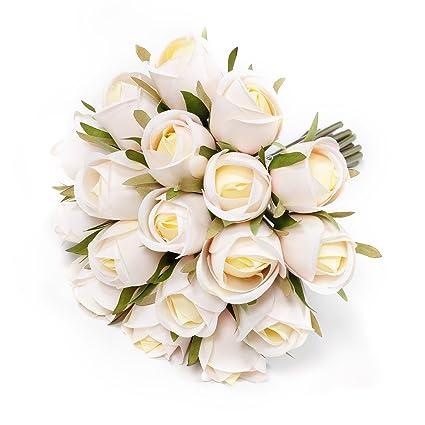 Flores artificiales, flores falsas EPCTEK Flores de seda de plástico Artificial Rosas 19 cabezas para