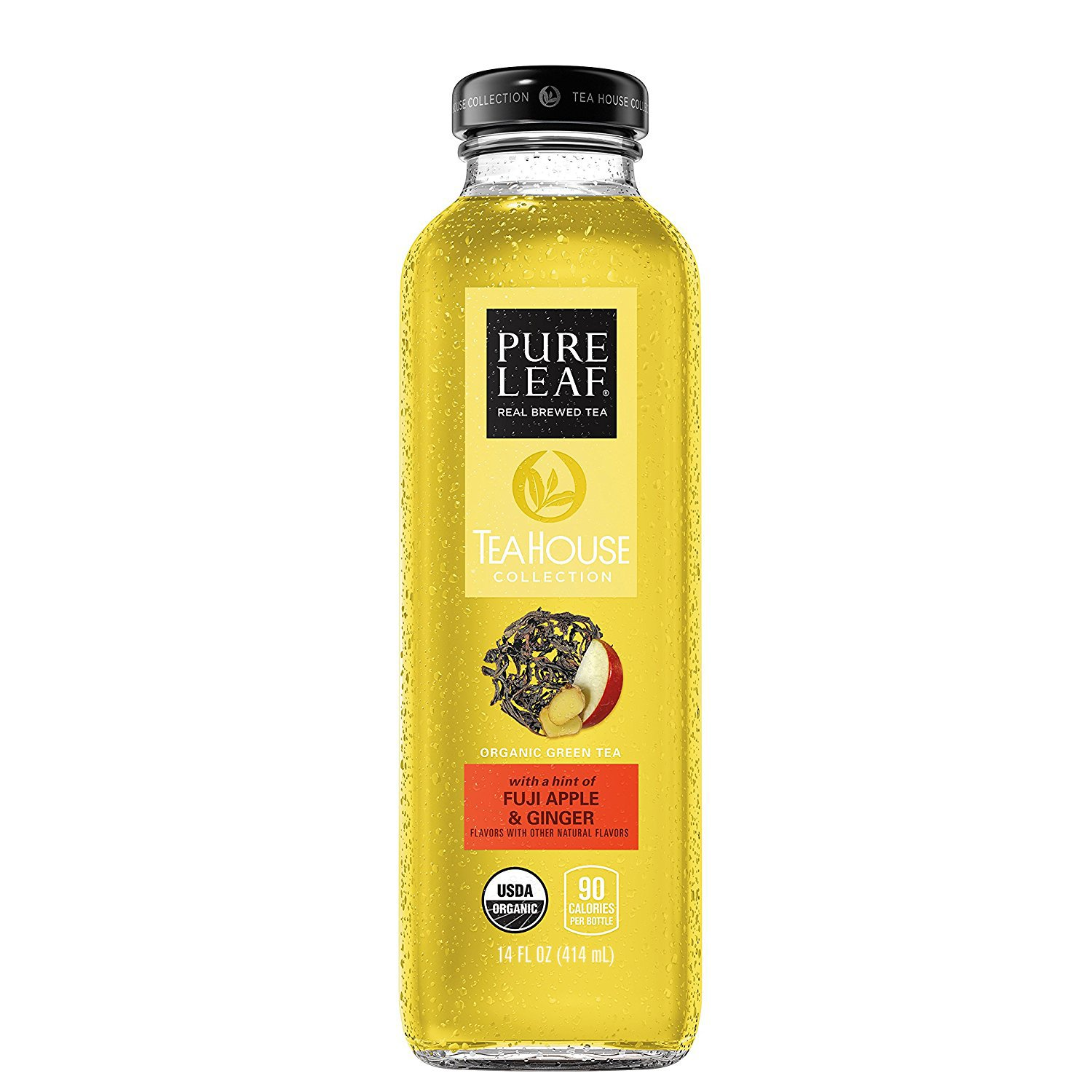 Pure Leaf Tea House Collection, Organic Iced Tea, Fuji Apple & Ginger, 14 Ounce Bottles, Pack of 8