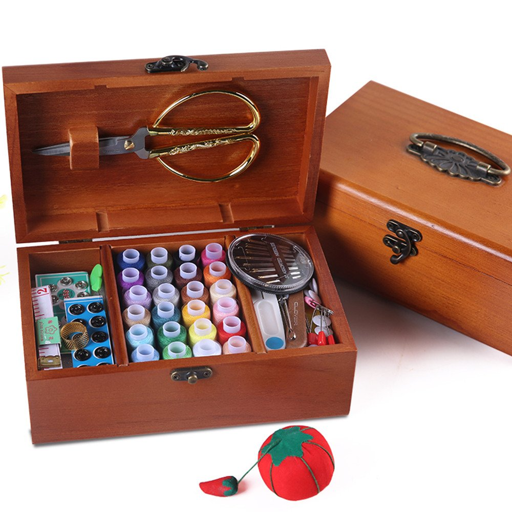 Sewing Basket Sewing Notions and Supplies Wooden Box Wedding Gift Kit with Supplies and Notions, 8.5 x 5.3 x 3Inches by XMZXKJ