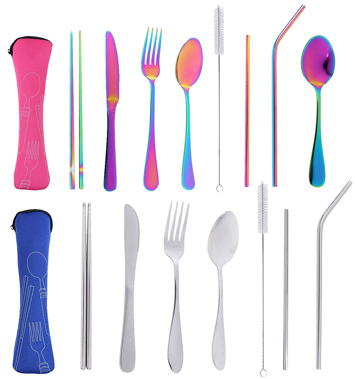 17pcs Reusable Travel Utensils Cutlery Silverware Set with Case, Stainless Steel Portable Flatware Set for Camping Office Or School Lunch,Dishwasher Safe Cutlery Knife Fork Spoon Straws Set(Rose+Blue)