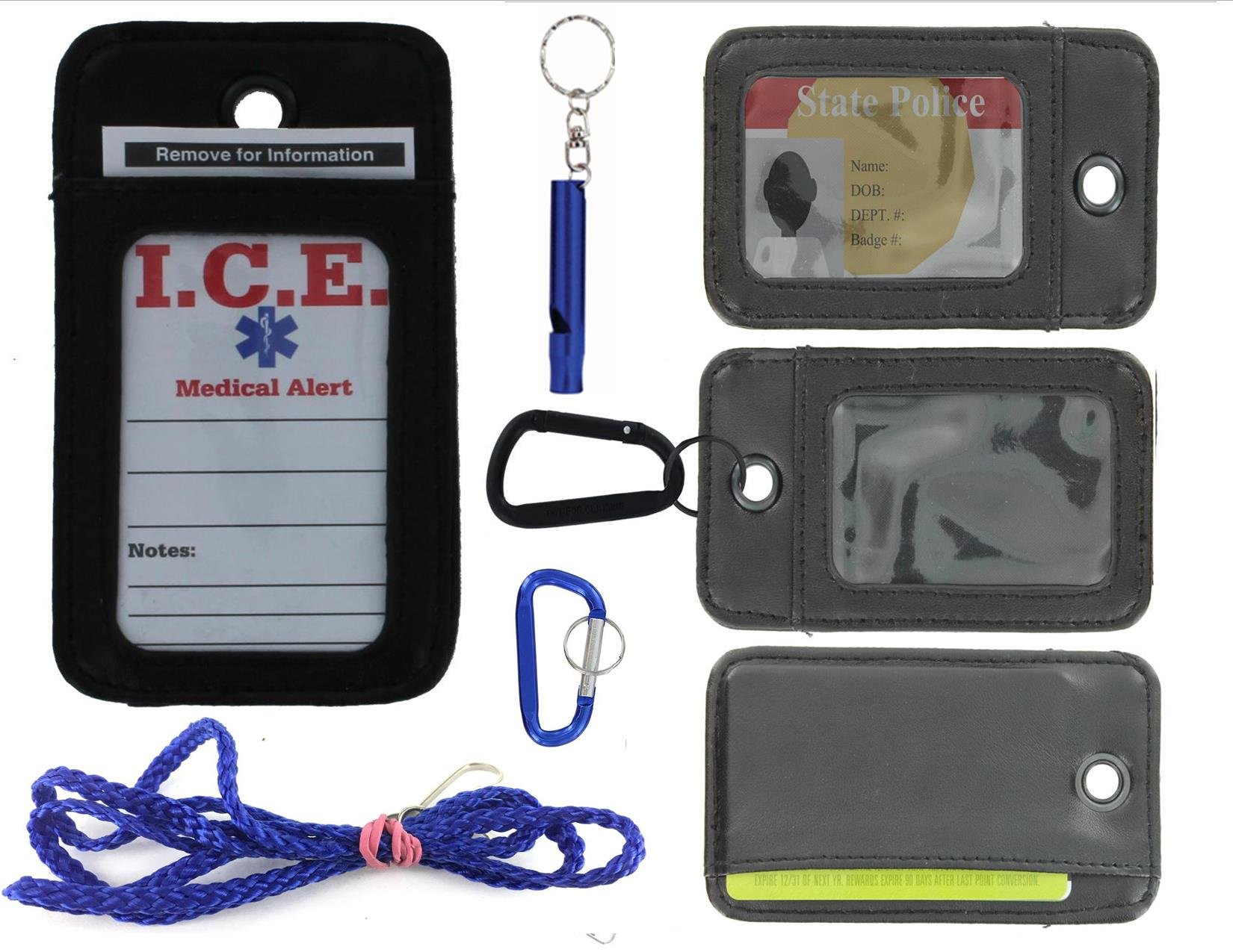 EDOG I.C.E. Lost Child & Medical Alert Parent Locator Neck Wallet   Lanyard   Key Chain   Carabiner   I.C.E. Cards   Leather   Emergency Contacts   Medical   Allergy   Meds   Language (BLUE LANYARD)