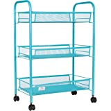 3 Tier Utility Cart, Kitchen Storage with Rolling Wheel, Metal Mesh Wire Basket Trolley, Blue