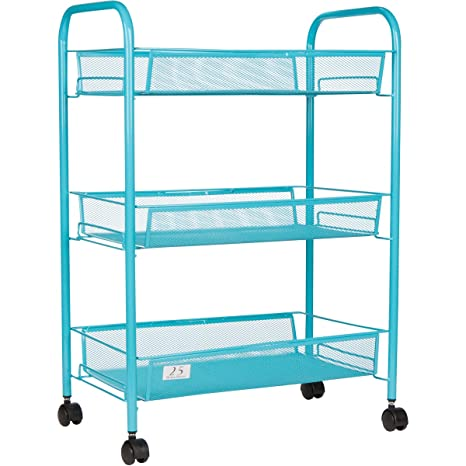 3 Tier Utility Cart, Kitchen Storage With Rolling Wheel, Metal Mesh Wire  Basket Trolley
