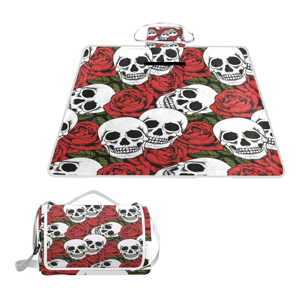 Anyangquji Skull and Flowers Seamless Background Picnic Blanket 57''x59''