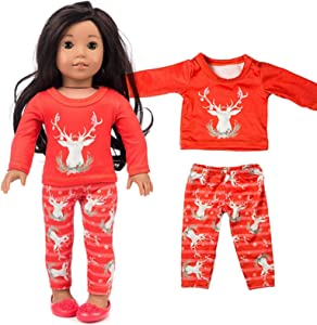 Toy Shimigy Chirstmas Clothes - Pants Shirt for 18'' American Girl Doll Accessory Girl, Kids Gifts, Well Made/Adorable/Machine Washable/Easy to Put On