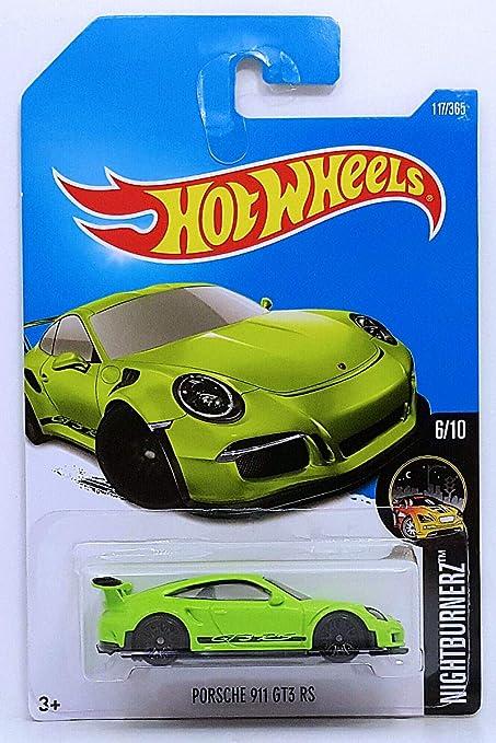 Amazon Com Hot Wheels 2017 Nightburnerz Porsche 911 Gt3 Rs 117 365 Neon Green Toys Games