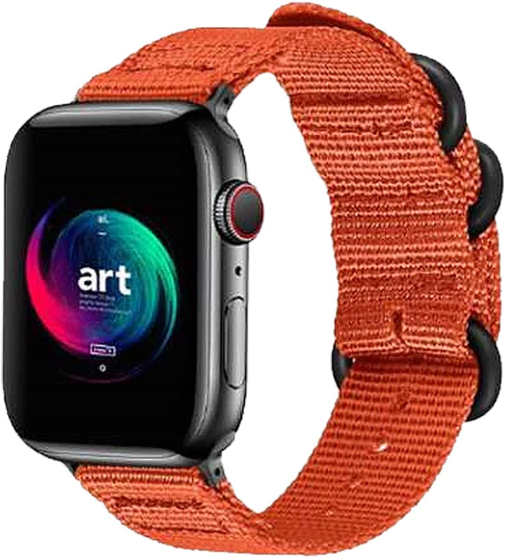 Sport Bands Compatible for Apple Watch Band 38mm 40mm 42mm 44mm, Nylon iWatch Bands Replacement Military Style Strap, Loop Buckle Series 6 & SE Series 5 4 3 2 1 Sport for Nike Edition - 3840S/Orange
