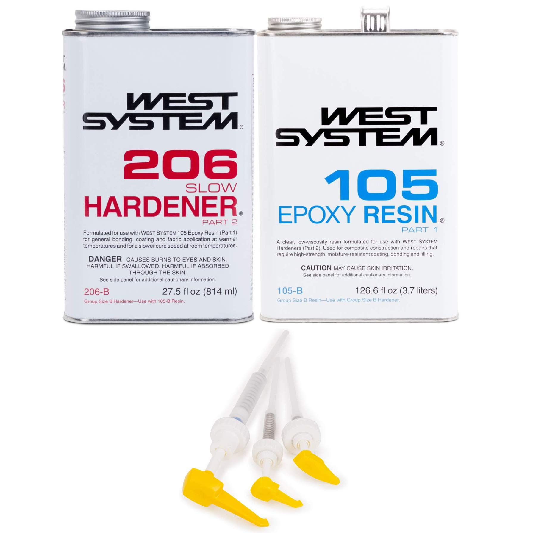 West System 105-B Epoxy Resin (.98 gal) with 206-B Slow Epoxy Hardener (.86 qt) and Epoxy Metering Pump Set