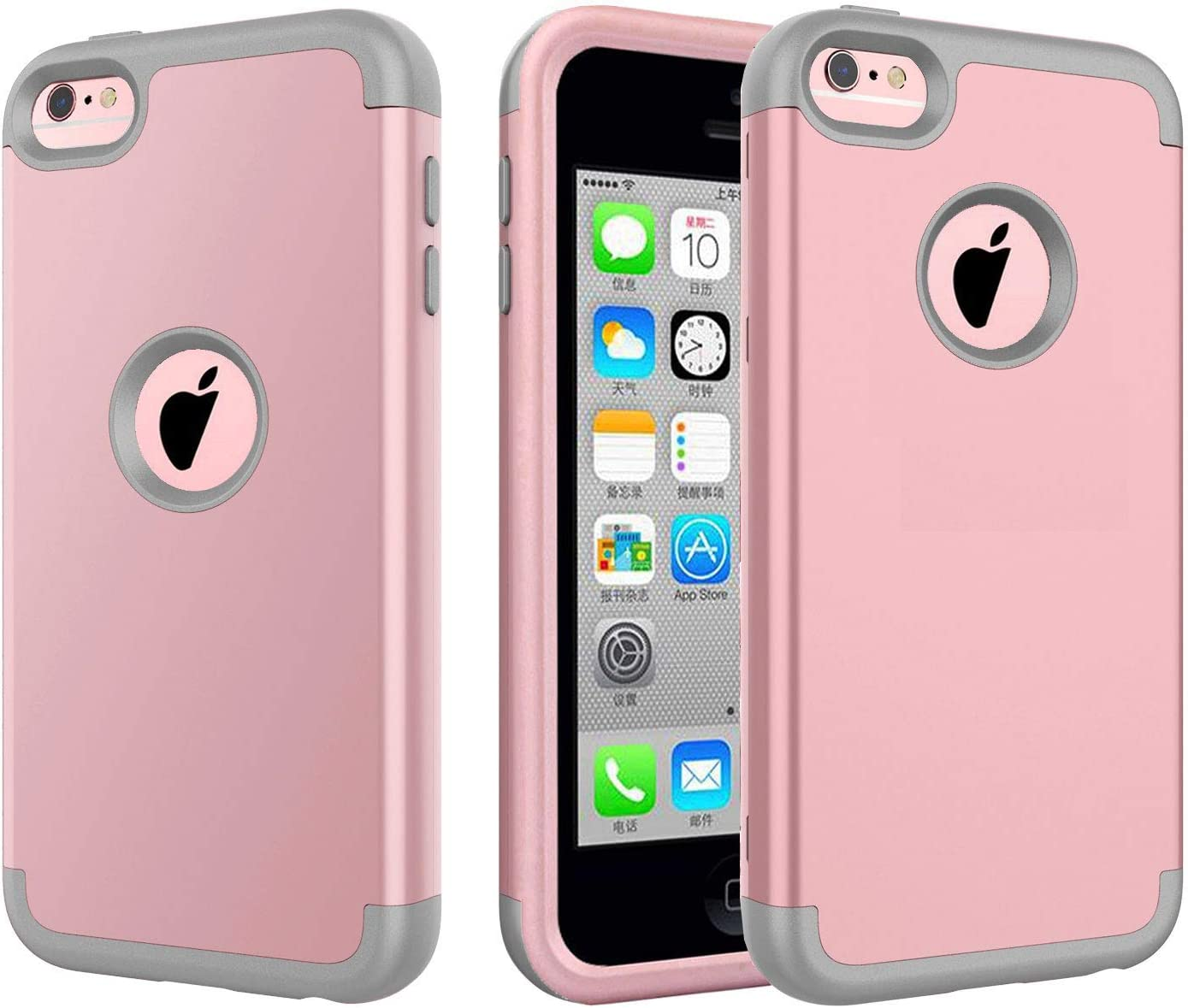 5c Case, iPhone 5c Case. J.west 3 in 1 Hard PC Shell and Soft Silicone Hybrid iPhone 5c Cases Shockproof Anti-Scratch Combo Cover for iPhone 5c - Rose Gold/Grey