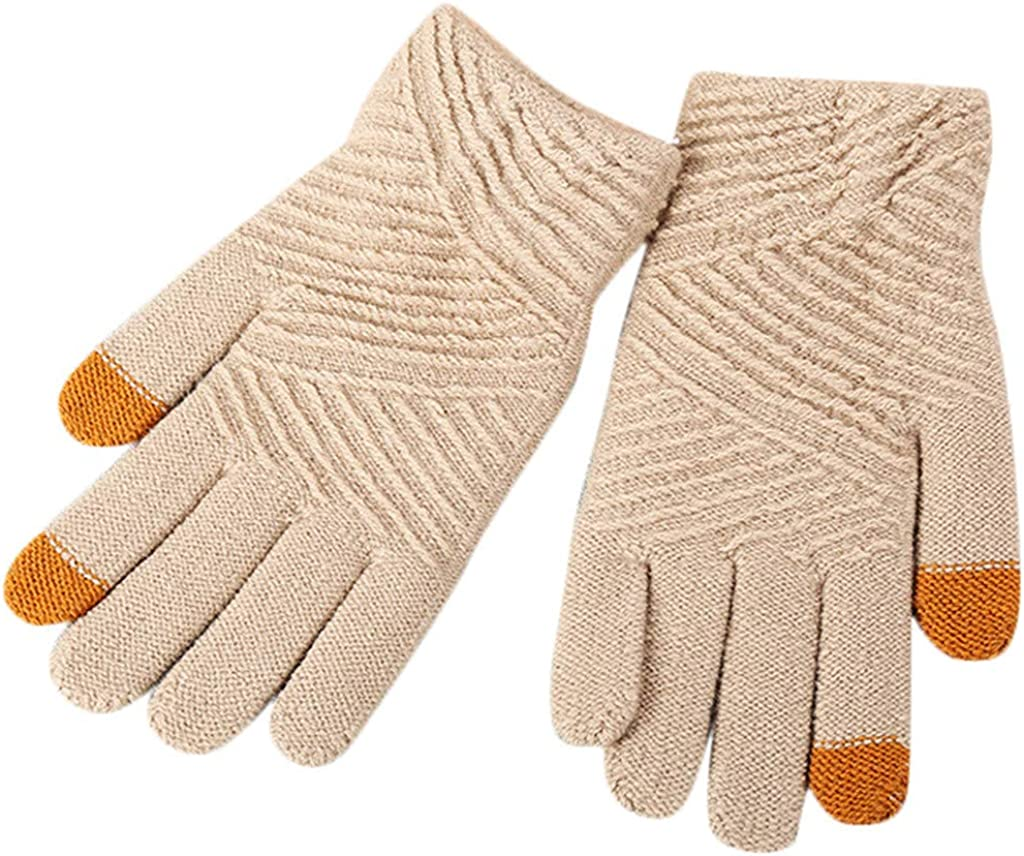 Yomiafy Women Winter Twill Knit Gloves Touch Screen Finger Gloves Students Soft Warm Riding Gloves