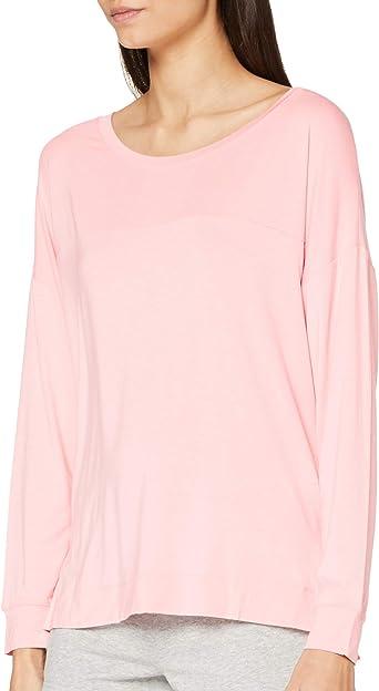 Calvin Klein L/S Curve Neck Camiseta de Pijama para Mujer