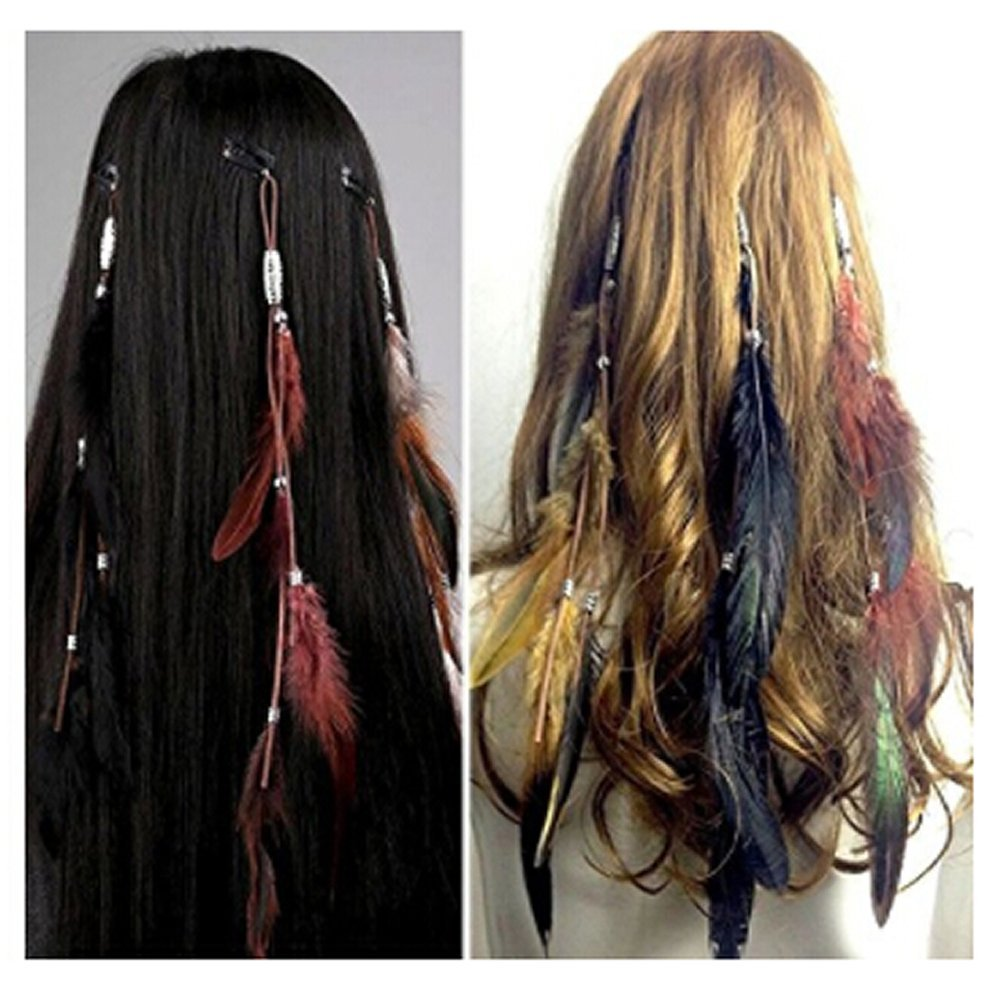 Women Feather Hair Clips Handmade Boho Hippie Hair Extensions With