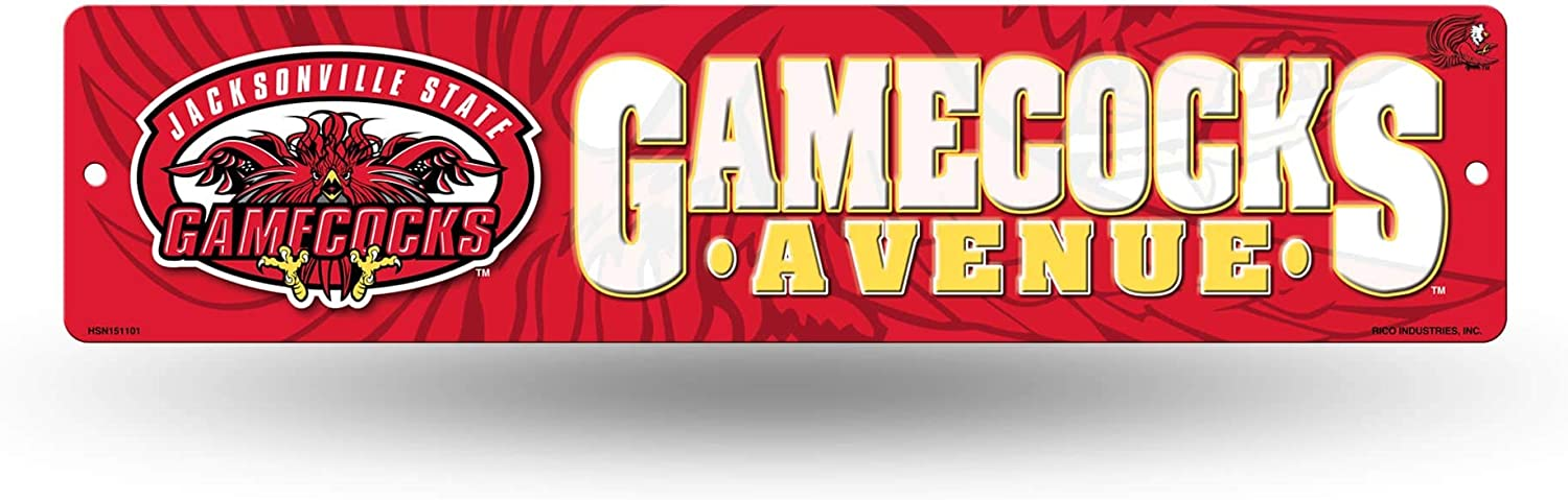 NCAA Rico Industries 16-Inch Plastic Street Sign Décor, Jacksonville State Gamecocks