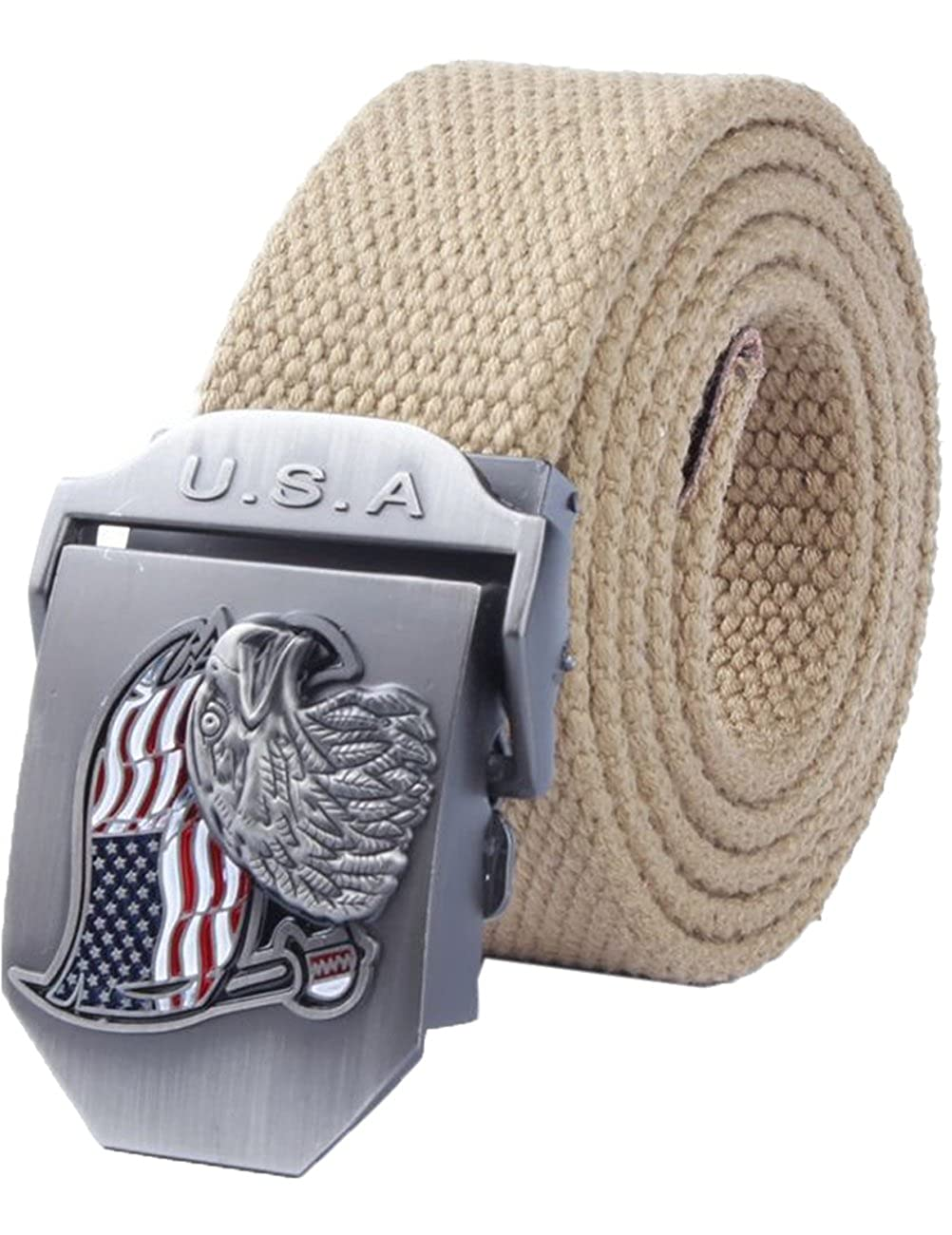 Mens Adjustable Canvas Belt Stainless Steel Buckle Military Waistband 47