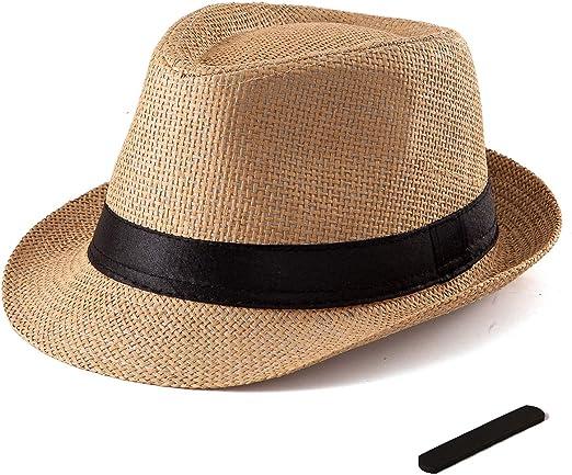 Ladies Straw Trilby Fedora Hat Summer Sun Hat Mens