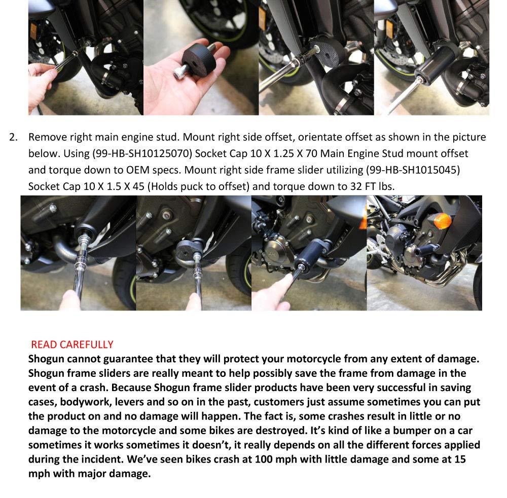 MADE IN THE USA Shogun Yamaha MT-09 MT 09 2018 2019 FZ09 FZ 09 2017 PA2 No Cut Frame Sliders 715-6429