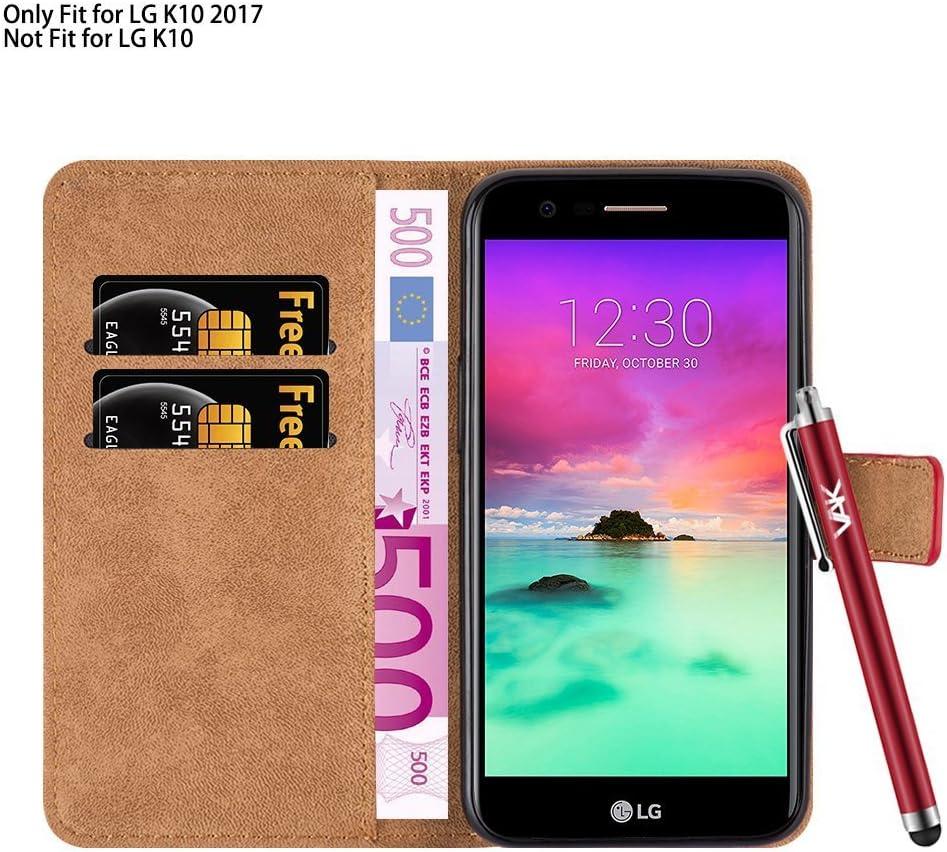 Funda de piel con tapa y tarjetero para LG K10 2017 + puntero + ...