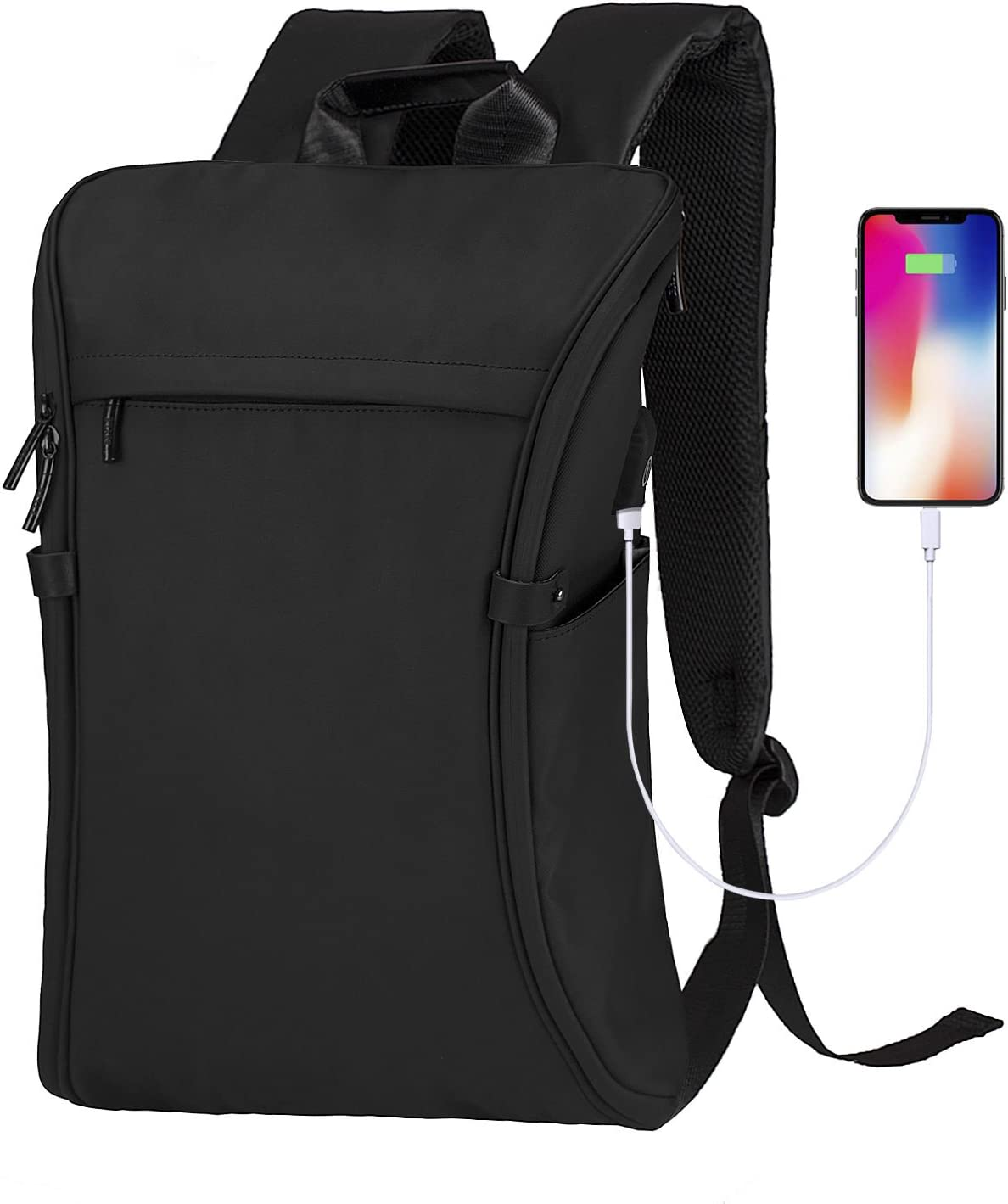 Laptop Backpack, Becky Travel College School Computer Bag with USB Charging Port, Anti-Theft Water Resistant Bookbag for Men & Women Fits 15.6 Inch Notebook, Black