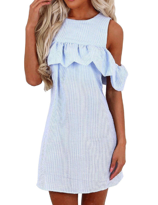 Stcgoo Striped Ruffle Cold Shoulder Casual Dress Women's Butterfly Sleeve Cutout Sundress