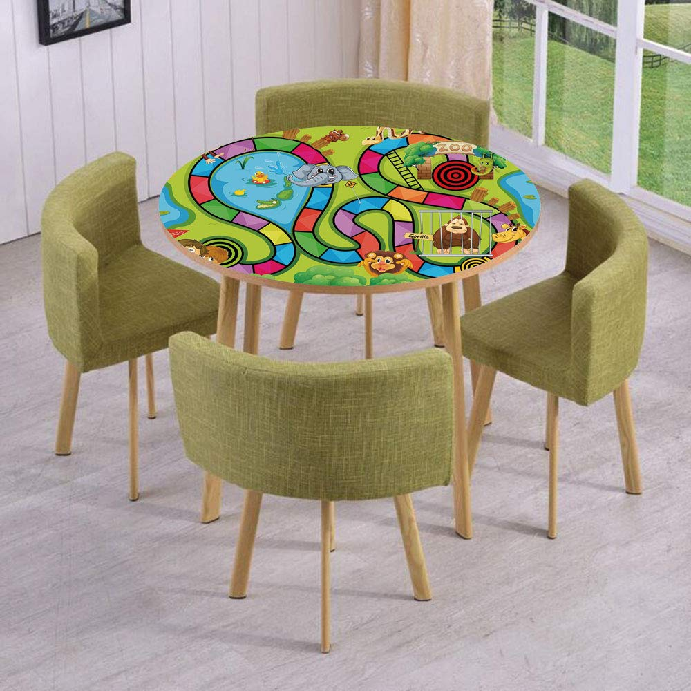 iPrint Round Table/Wall/Floor Decal Strikers/Removable/Joyful Zoo Various Animals Circles Target Gorilla Giraffe Kids in Car Start Flag Decorative/for Living Room/Kitchens/Office Decoration