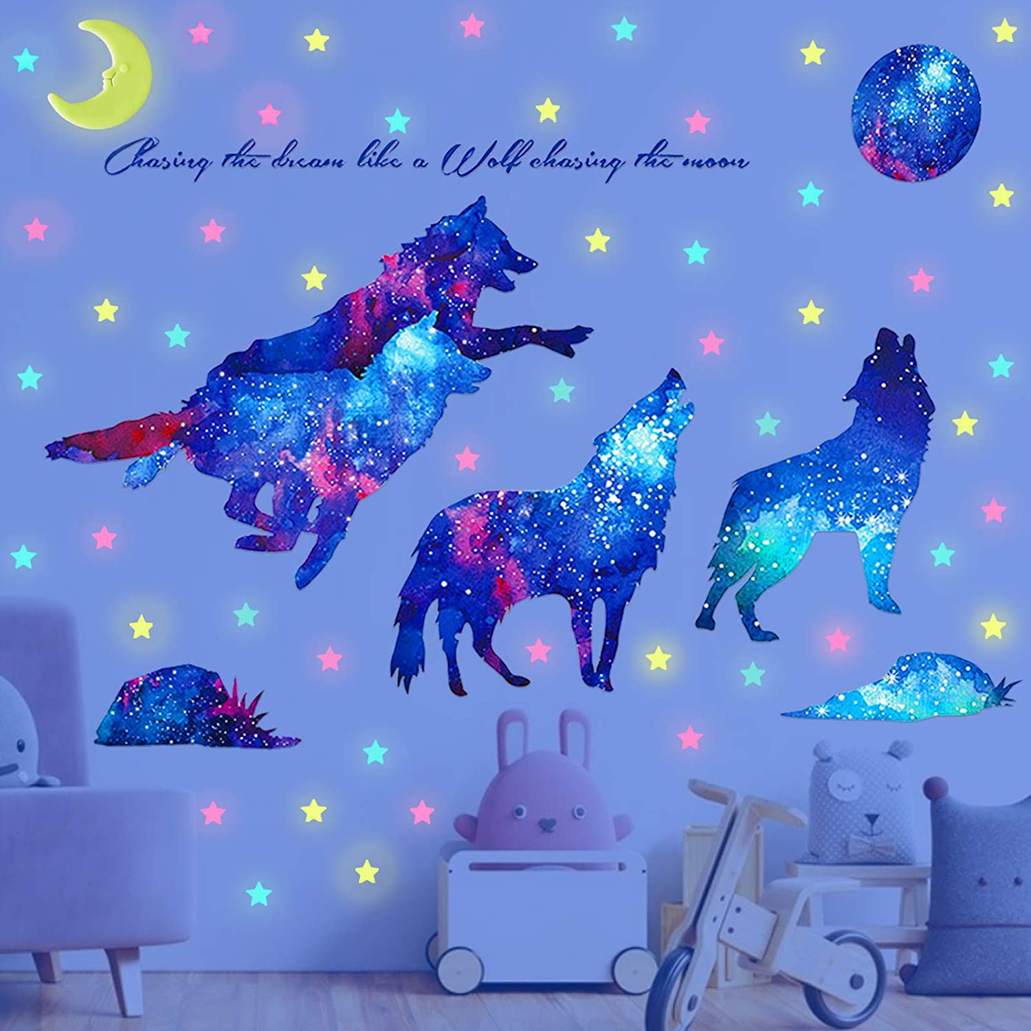 Blue 2 Set Creative 3D Blue Wolf and Planet Wall Decals Safe on Walls /& Easy Peel TANOKY Removable Wolf 3D Outer Space Planet Wall Stickers Murals Home Decor for Bedroom Boys Girls Nursery Room