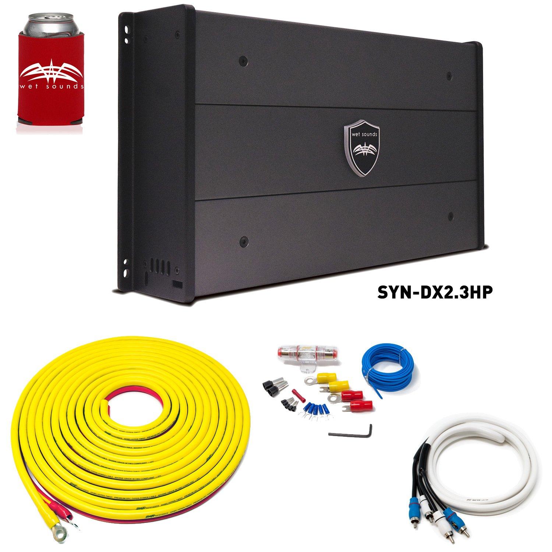 Wet Sounds SYN-DX-2.3HP SYN-DX Series Marine Amplifier & Stinger 7-Meter 4-Gauge Amplifier Wiring Kit w/RCAs