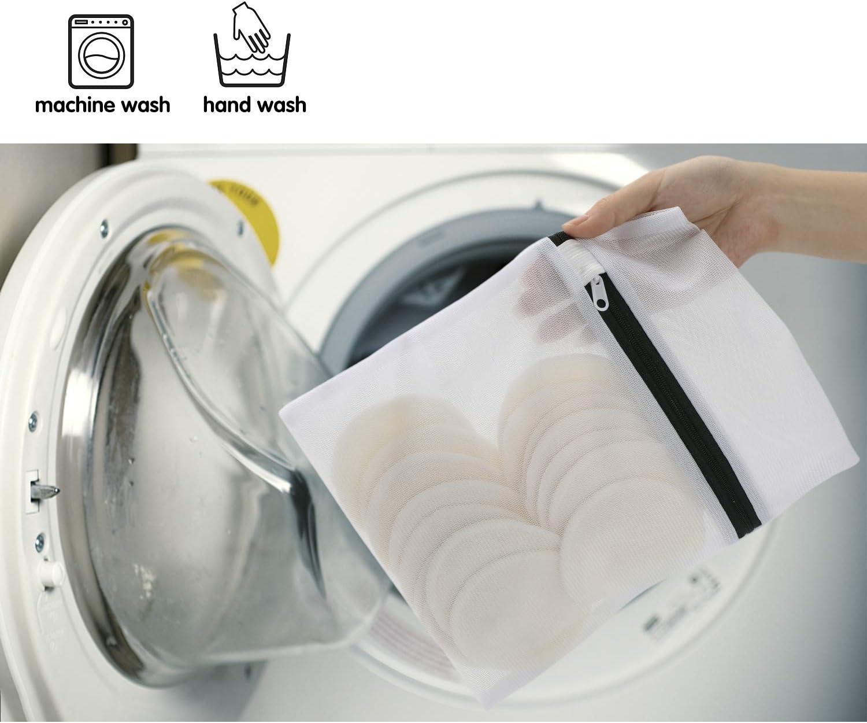 Paquet De 16 Tampons D/émaquillants En Bambou Nettoyage Lavable Du Visage Tampons En Coton Biologique R/éutilisables Avec Sac /À Lessive
